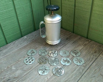 Vintage Mirro Hand Cranked Spritz Cookie Press with 12 Plates for Forming Cookies
