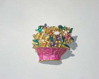 Vintage Flower Basket Brooch - Floral Pin  - Retro Jewelry Pin 1980s