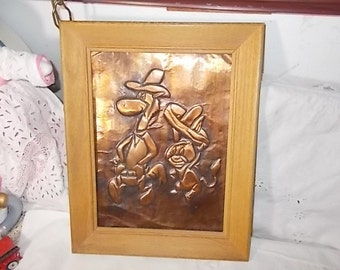 Cartoon Cooper Embossed Picture, Copper Art Work,Vintage Home Decor, /Not included in Coupon Sale