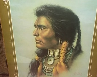 Bill Hampton Indian Poster 1975 ,Vintage Indian Poster,  Indian Culture, Indian Chief, Vintage Poster,Vintage Home Decor, :)s*