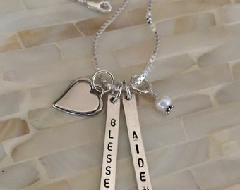 Nameplate Bar Necklace with Heart- Childs Name- Date- Sterling Silver- Mother's Necklace- Christmas Gift