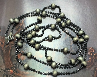 "Vintage Italian Silver Beaded Necklace 26"" Antiquedn Oxidized Finish Delicate"