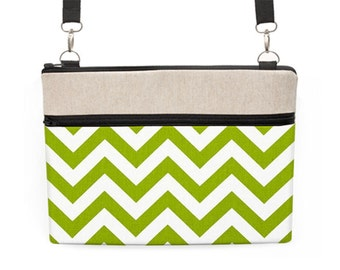 "12"" Laptop bag, Macbook 13"" Shoulder Bag, 12"" Laptop Cross body Bag, 11 inch MacBook Crossbody, Laptop Bag - lime green white chevron"