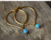 SALE Gold Opal Earrings, Opal Earrings, Blue Opal Earrings, October Birthstone, Bridal Opal Earrings, Simple Opal Earrings, Gold Hoop Earrin