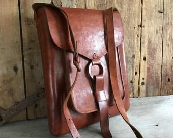 Leather Saddle bag Purse Handbag, Satchel, Artisan, Chestnut Brown, Vintage Crossbody, Messenger