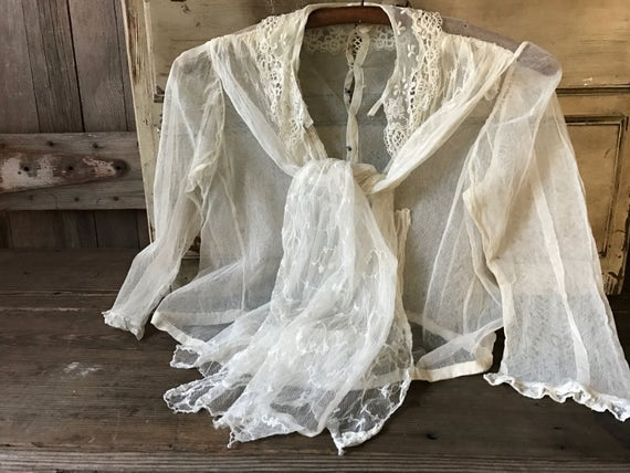 Antique Lace Blouse, Victorian Era, Tulle Lace Net, Period Clothing