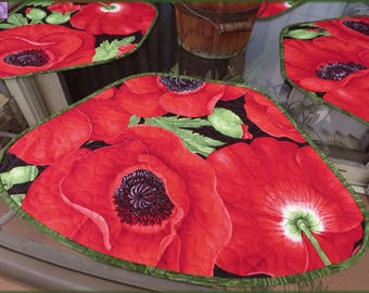 Quilted Placemats Red Poppy Flora Quilt 568