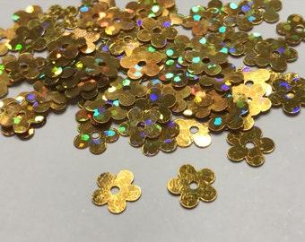 golden yellow flower  sequins / confetti, 8 mm (37)+