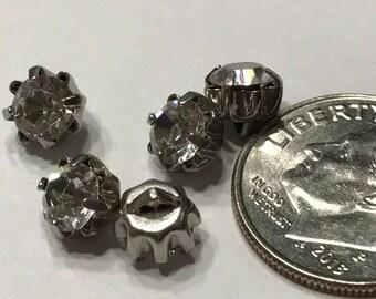5 Vintage rhinestone buttons, 5 mm (B2)