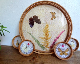 Whimsical 1970's Pressed Butterfly Cocktail Coaster and Tray Set