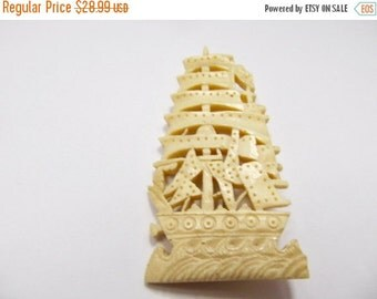 On Sale Vintage Carved Bone Ornate Ship Pin Item K # 1105