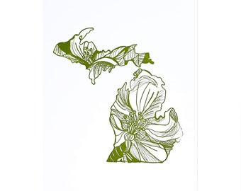 Letterpress Michigan Apple Blossom