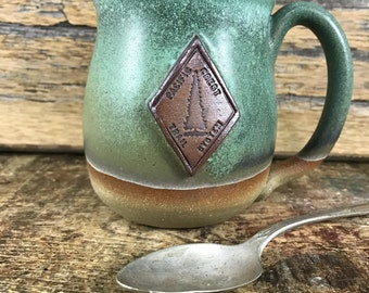 Pacific Crest Trail Ceramic Mug Copper Green / PCT Pottery Trail Mug/ PCT Coffee Cup/ Pacific Crest Trail Gift / Pacific North West