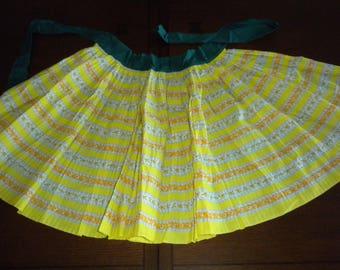 vintage half apron yellow green orange flirty pleats forest green sunny yellow