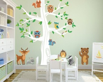 Oak Tree Wall Kids Decal Forest with Bear Deer Rabbit Porcupine Birds Owls Squirrels and Badger Sticker Removable Sticker #1337