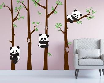 Nursery Panda Bear Bamboo Tree Wall Nursery Decal Art Forest Kids Room Stickers #1350