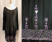 RESERVED FOR M Vintage 1920's Black dress, silk knitting and embroidery, to repair.