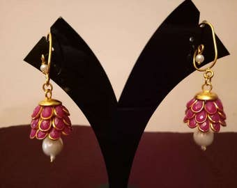 Three- tier Indian pacchi, pachi jhumkas in dark pink with golden hook, Indian jewelry, earing
