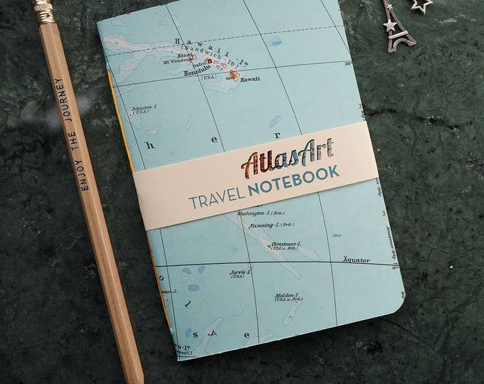 NOTEBOOK SMALL, Hawaii, Honolulu, Pacific Ocean, 4x5,8inch, 32 p., plain/ruled, travel journal, diary, atlas, map, vintage, upcycling