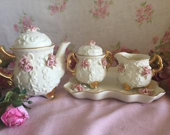 Vintage 4 piece Tea set - shabby chic