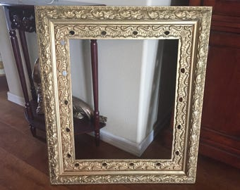 Antique Ornate Gold Gesso Wooden Frame - Large 27 x 31 - Shabby Chic - Hollywood Regency - GOLD ORNATE FRAME - X Large French Baroque