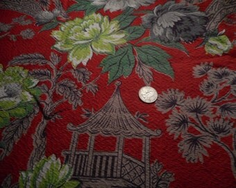 Vintage 1940's, 50's Red Chartreuse Grey Taupe Asian Motif Textured Decorator Cotton Fabric, 2 yards