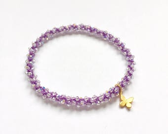 Sahasrara- crown chakra, golden butterfly charm, Swarovski crystal, beaded crochet, stackable, yoga charm bracelet