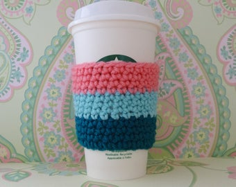 Crochet Reusuable Dark Teal, Turquoise and Pink Cup Cozy/Sleeve, Eco Friendly Cup Cozy/Sleeve - Ready to Ship
