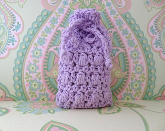 Crochet Soap Sack, Massaging Soap Saver, Crochet Soap Pouch, Soap Saver Bag/Pouch in Lavendar/Light Purple - 100% Cotton - Ready to Ship
