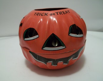 Vintage Tin 1950's Halloween Candy Container