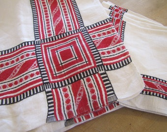 1970'S Mexican Tablecloth and Napkin Set, Linen, White, Red, Black, Ethnic, Mexican, Embroidery, Tablecloth, Napkins, Set, 1970's, 1960's