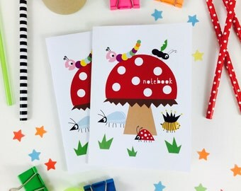Toadstool and Bugs Mini Notebook, Party Bag Filler, Childrens Gift, Kids Stationery, Kid's Stocking Filler, toadstool gift, kid's bug party
