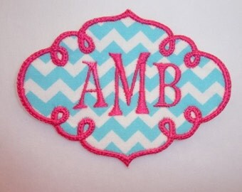 Monogram Patch, Personalized Monogrammed Swirl Iron On Patch, Name Patch
