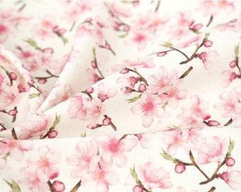 """Cherry Blossom Linen Blend Fabric, Flower Cotton Linen Fabric, Digital Printing Fabric - 59"""" Wide - Fabric By the Yard 95234"""