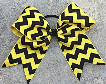 """2.25""""x6""""x6"""" Cheer Bow Yellow and Black Chevron Sports Bow"""