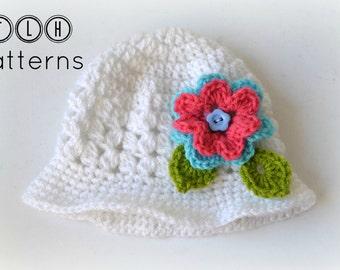 Crochet pattern, crochet hat pattern, hat with brim, Bella hat with brim - 7 sizes - newborn to adult, Pattern no. 5