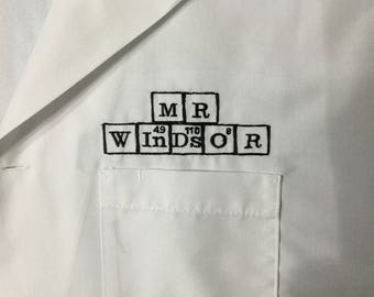 Medical Lab Coats - periodic table names, Personalized with Business and Name, title