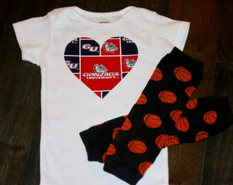 Gonzaga Bulldogs heart onesie / bodysuit - Gonzaga baby shower gift - Bulldogs Baby outfit - add leg warmers