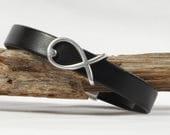 RESERVED Leather bracelet, Black leather bracelet, Silver fish, Magnetic clasp, CarolMade