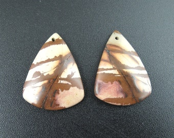 SALE Beautiful  cut and polished pair of  Australian jasper  ,  Drilled ,beads, Jewelry making supplies  B6478