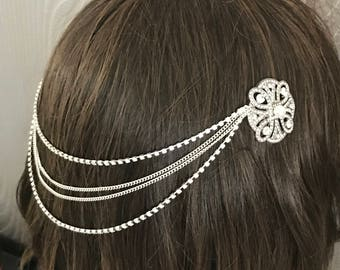 Hair chain headpiece - wedding headpiece , bridal headpiece  - 1920s art deco wedding headdress - Great Gatsby headdress - Bridal hair drape