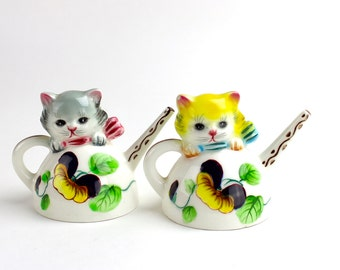 Vintage PY Norcrest Cat Salt Pepper Shakers PY Japan Norcrest Kittens in Teapots, Watering Cans Large Salt Pepper Shakers, Pansies Epsteam