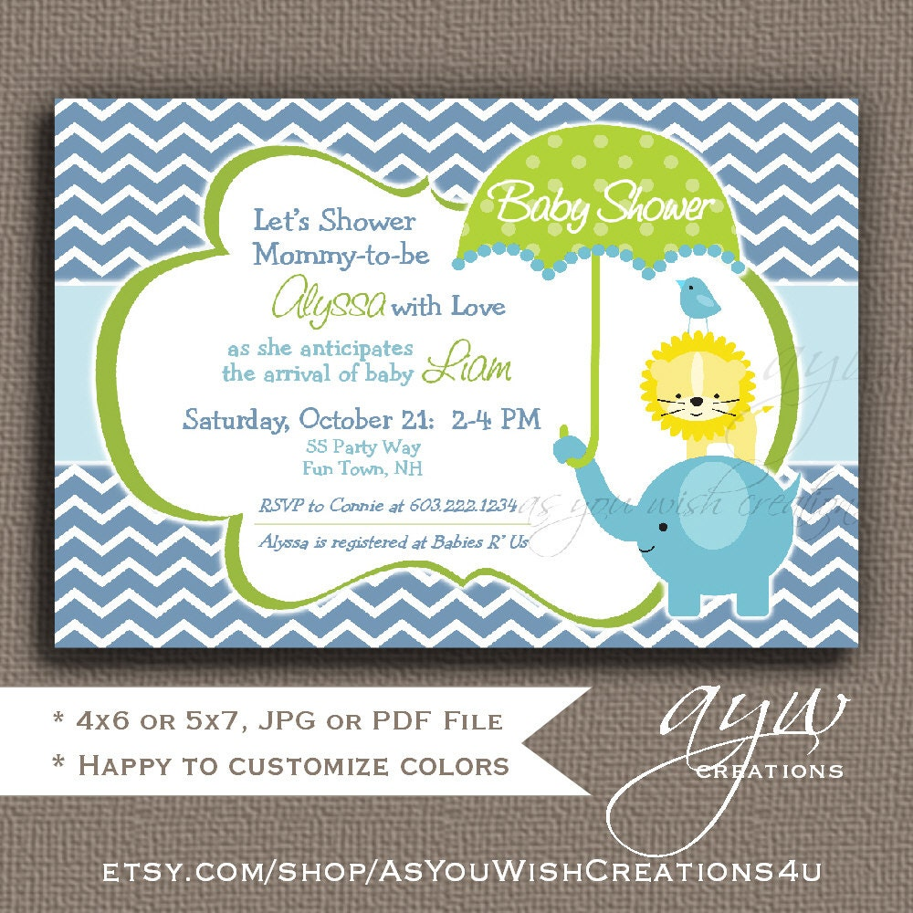printable elephant baby shower invitations
