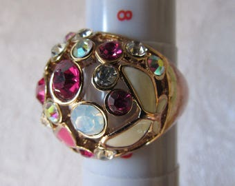Ring large size 8 1/2  Pink stones Butterflies statement Ring