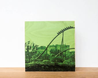 "Roller Coaster, Photo Art Block, 'Joy Ride #3' Limited Edition Image Transfer on 12""x12"" Wood Panel by Patrick Lajoie, amusement park"