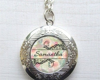 Custom Name Necklace, Personalized Locket Necklace