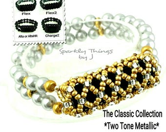 Bracelet for FitBit FLEX, FLEX2, ALTA, AltaHr or Charge2! Two Tone Gold With Silver, Swarovski Glass Pearls, Stretch, Tech, Free Resizing!*