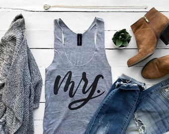 Mrs. Tank Top •  Handlettered Calligraphy Tank for Bachelorette, Wife, Newlywed, or Honeymoon • Gray Tri-Blend Racerback Top •FREE SHIPPING