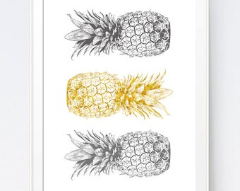 Grey Gray Yellow Pineapple Print, Mustard and Gray Tropical Art, Gold and Grey Wall Art, Home Wall Art Hearts, Home Office, INSTANT DOWNLOAD