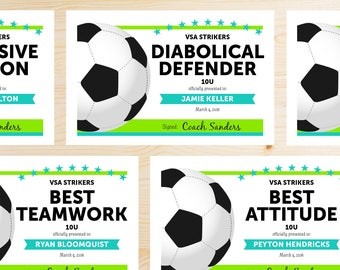 Editable Soccer Award Certificates - INSTANT DOWNLOAD PRINTABLE - Neon Green and Teal